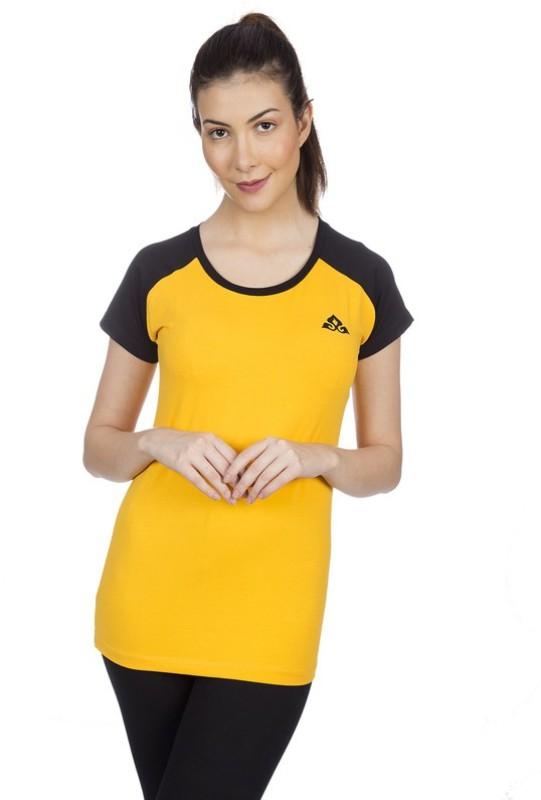 Goldstroms Casual Short Sleeve Solid Women Yellow Top