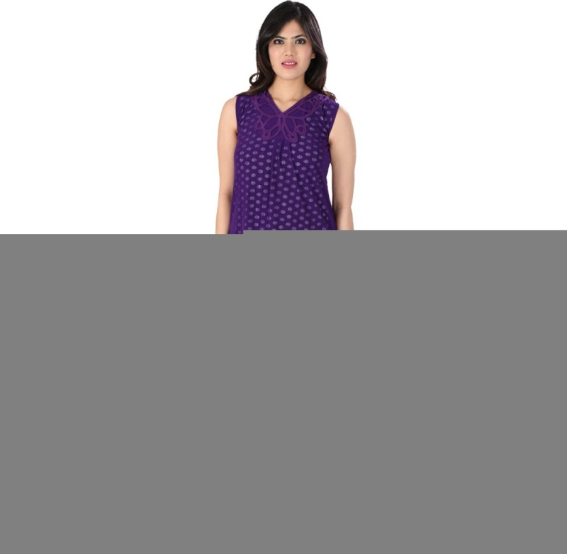 Dovekie Casual Sleeveless Self Design Women Purple Top