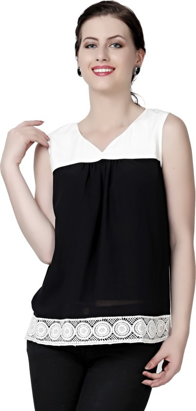 Eavan Casual No Sleeve Solid Women Black Top