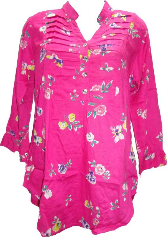 Deesha Casual 3/4 Sleeve Floral Print Women Pink Top