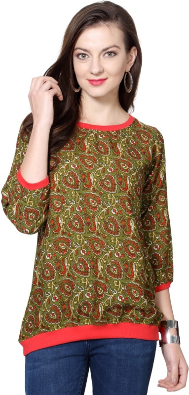 People Casual 3/4 Sleeve Printed Women Dark Green Top