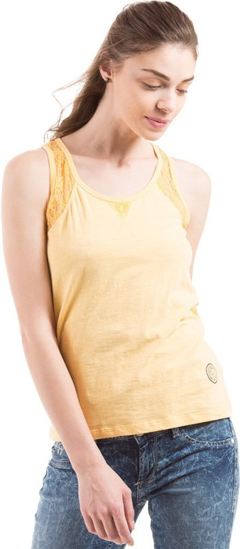 Flying Machine Casual Sleeveless Solid Women Yellow Top
