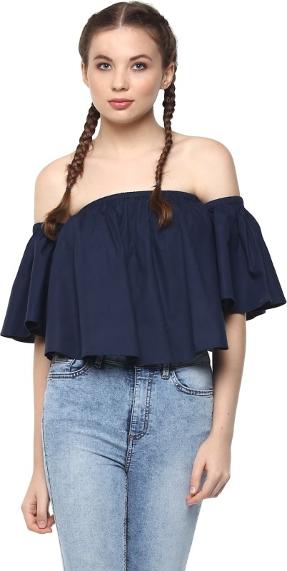 Harpa Casual Half Sleeve Solid Women Dark Blue Top