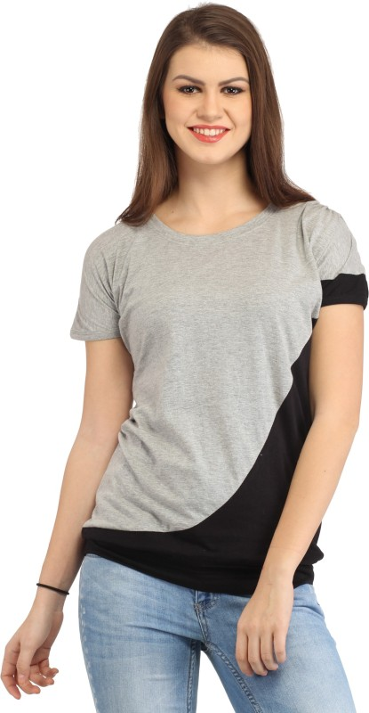 Cation Casual Short Sleeve Solid Women Grey Top