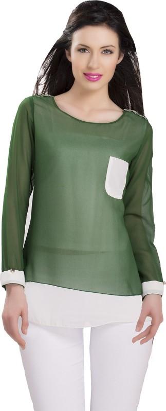 Ishin Designer Studio Women Solid Casual Green Shirt