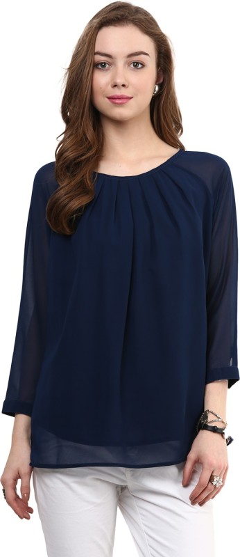 Rare Casual Short Sleeve Solid Women Blue Top