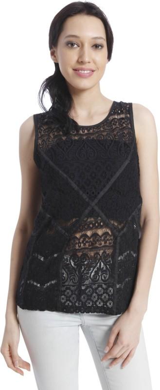 Vero Moda Casual Sleeveless Self Design Women Black Top