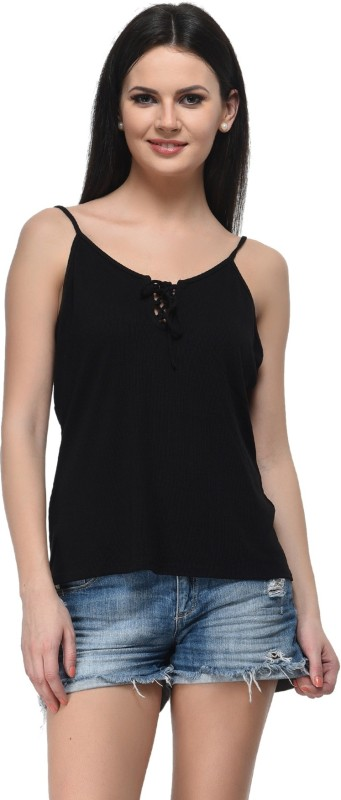 Frenchtrendz Casual Sleeveless Solid Women Black Top