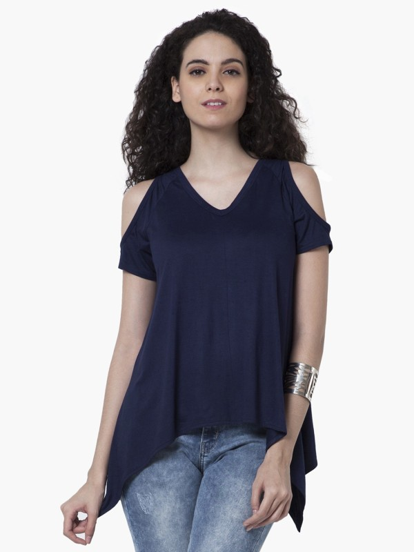 FabAlley Casual Short Sleeve Solid Women's Blue Top