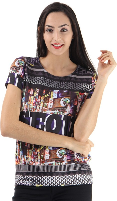 Only Casual Short Sleeve Graphic Print Women Multicolor Top