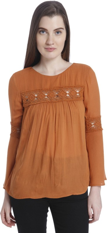 Vero Moda Casual Full Sleeve Solid Women Brown Top
