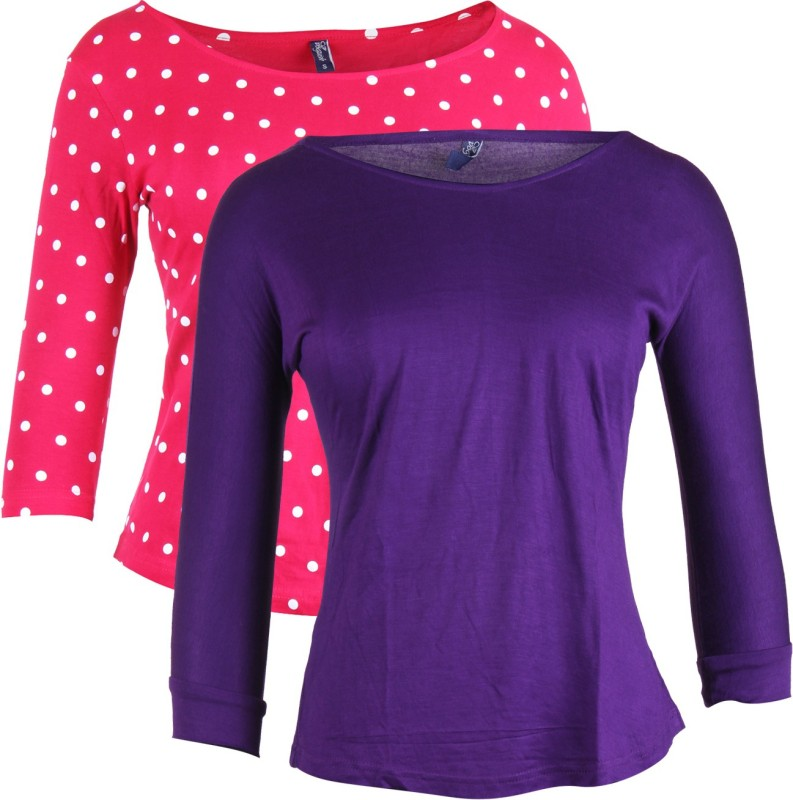 Vvoguish Casual 3/4 Sleeve Solid Women Purple, Pink Top