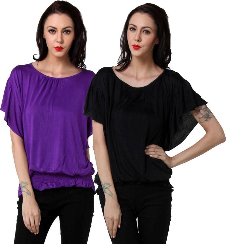 TeeMoods Casual Butterfly Sleeve Solid Women's Black, Purple Top