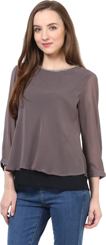 Rare Casual 3/4 Sleeve Solid Women Grey Top