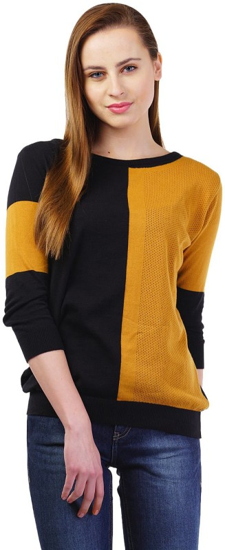Kalt Casual 3/4 Sleeve Color Blocked Women Black, Yellow Top