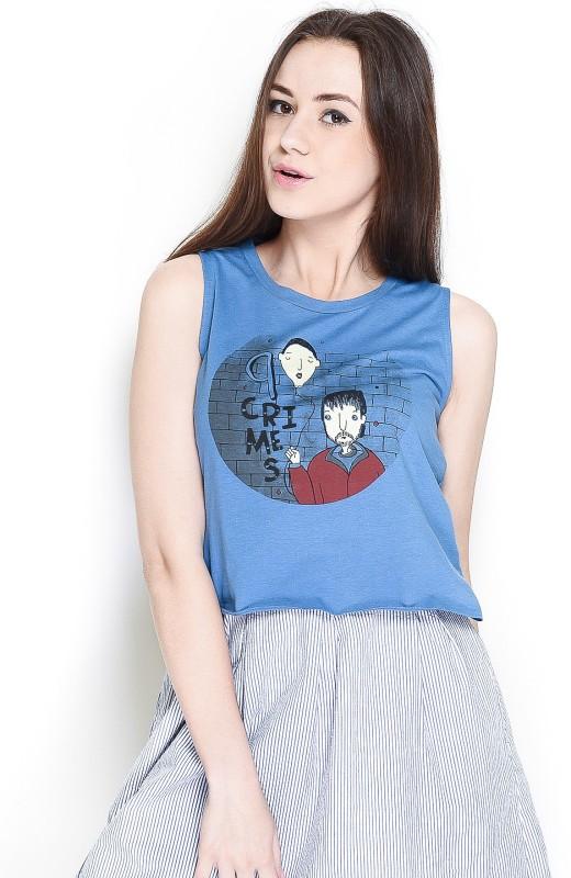 The Glu Affair Casual Sleeveless Printed Women's Blue Top(Size: S)