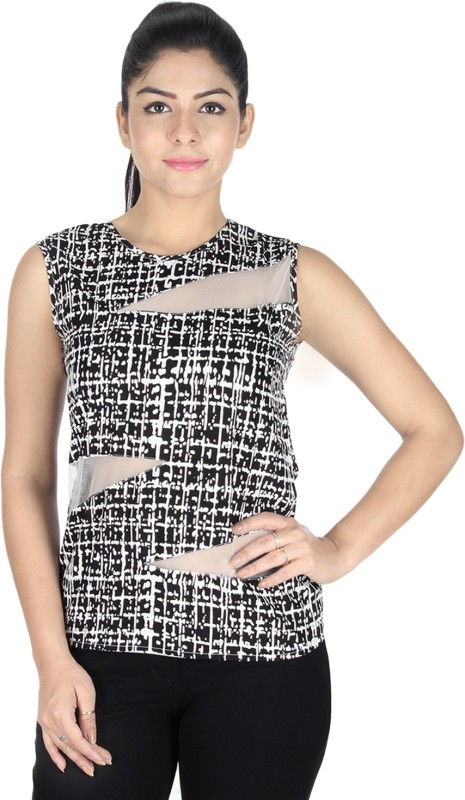 Sanchey Casual Sleeveless Printed Women White, Black Top