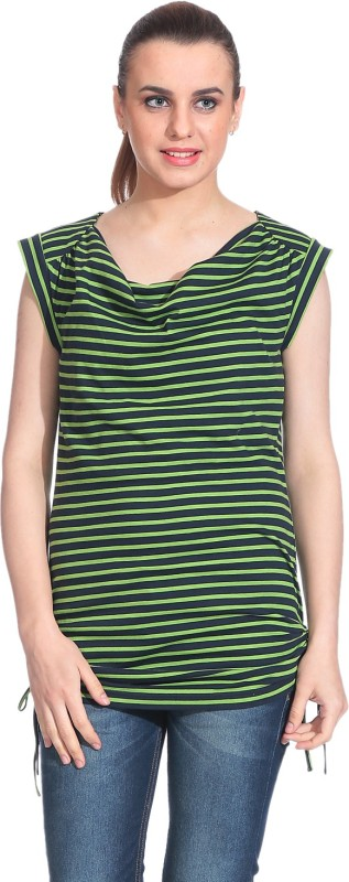 Rute Casual Sleeveless Striped Women Green Top