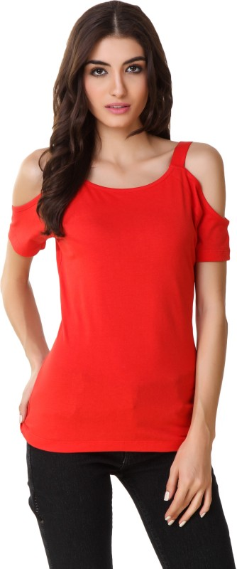 Texco Party Short Sleeve Chevron Women Red Top
