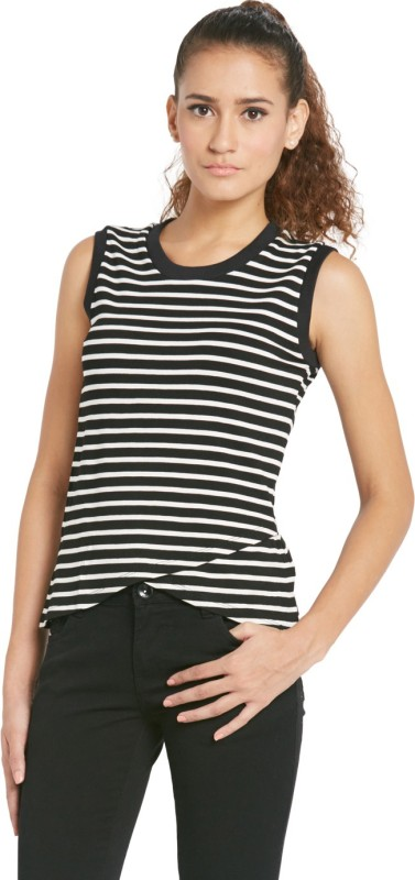 Globus Casual Sleeveless Striped Women's Black Top
