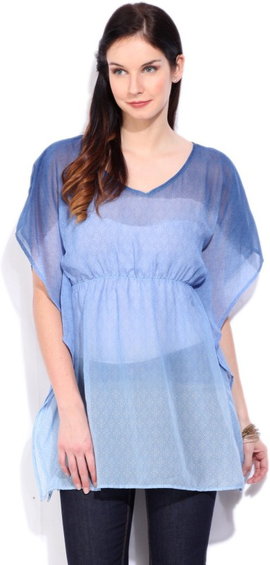 People Casual Butterfly Sleeve Solid Women's Blue Top