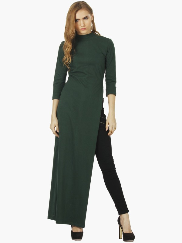FabAlley Casual Full Sleeve Solid Women's Green Top