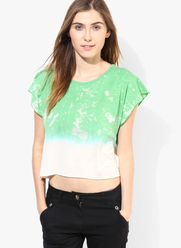 Only Casual Sleeveless Solid Women Green, White Top