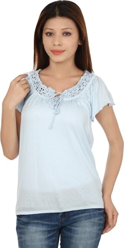 Kotty Casual Butterfly Sleeve Solid Women's Light Blue Top