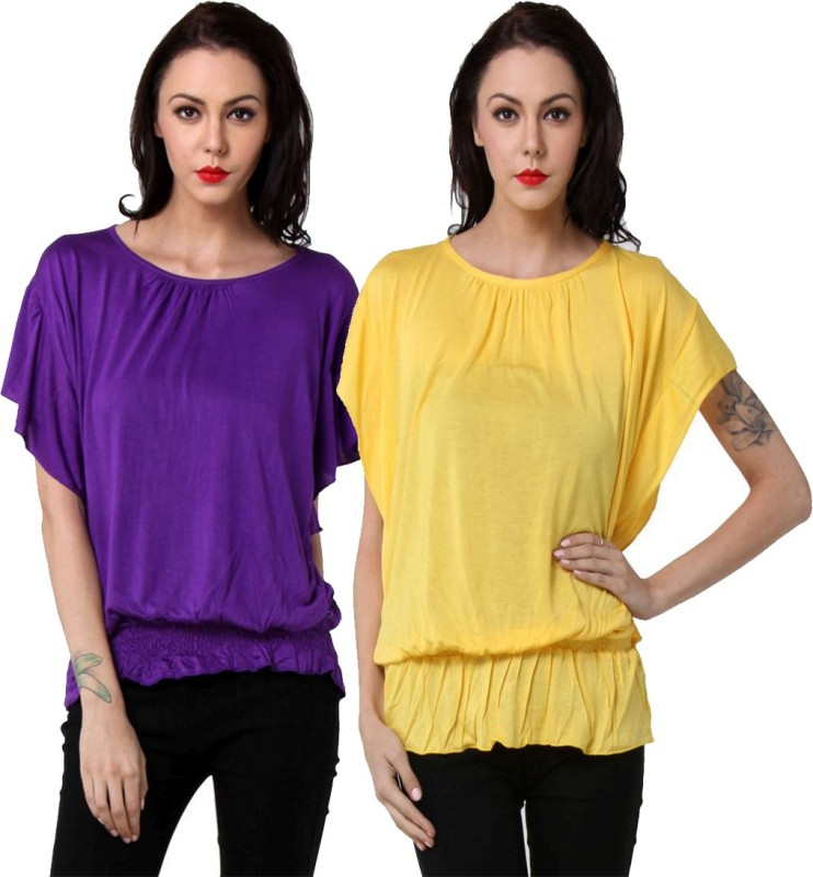 TeeMoods Casual Butterfly Sleeve Solid Women's Purple, Yellow Top