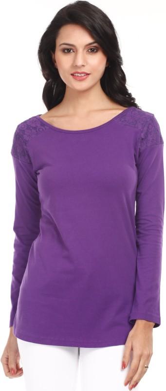 Mustard Casual Full Sleeve Solid Women's Purple Top