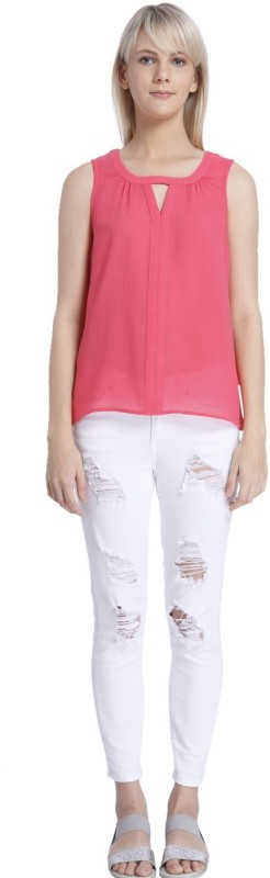 Vero Moda Casual Sleeveless Solid Women Pink Top