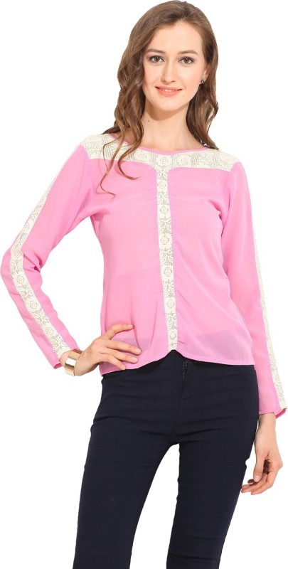 Albely Casual Full Sleeve Solid Women Pink Top