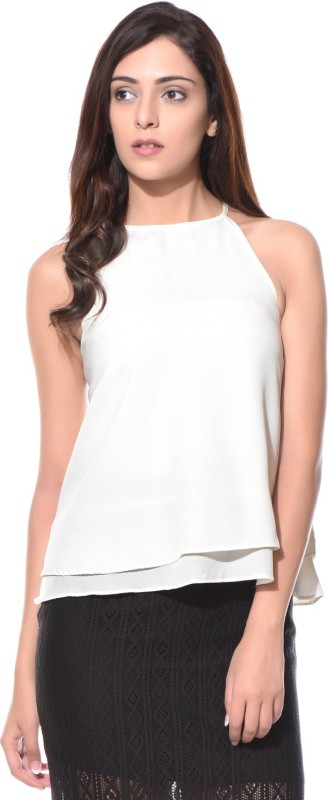 Uptownie Lite Party Sleeveless Solid Women's White Top