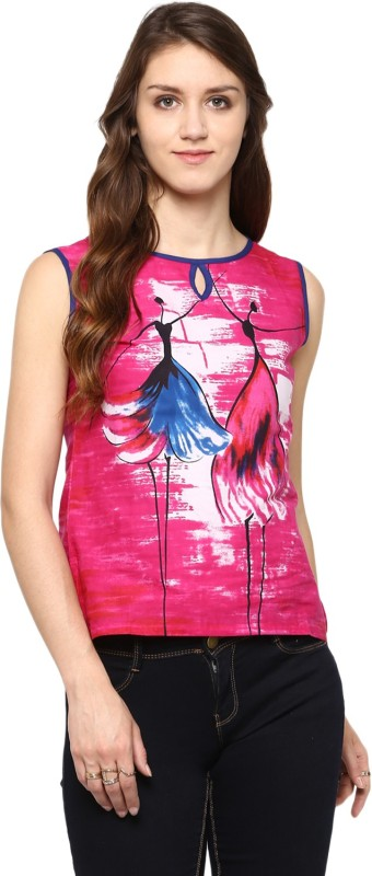 Jaipur Kurti Casual Sleeveless Printed Women Pink Top