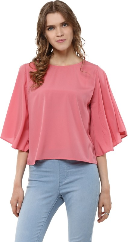Harpa Casual Flared Sleeve Solid Women Pink Top