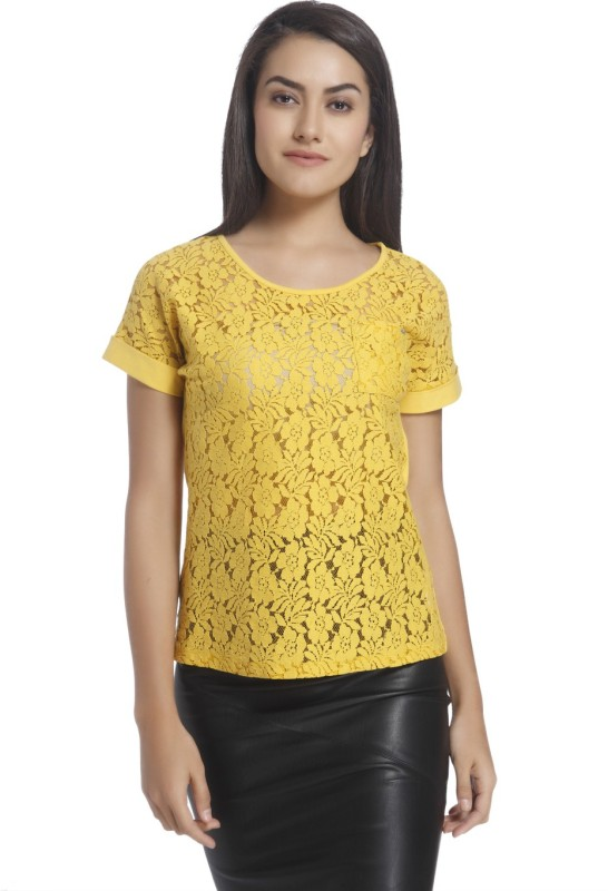 Only Casual Short Sleeve Self Design Women Yellow Top