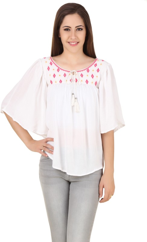 Big Pout Casual Butterfly Sleeve Embroidered Women White Top