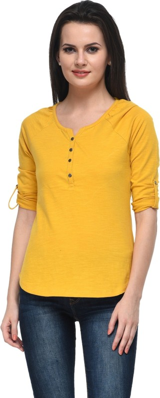 Frenchtrendz Casual Roll-up Sleeve Solid Women Yellow Top