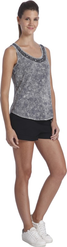 Only Casual Sleeveless Embellished Women Grey Top