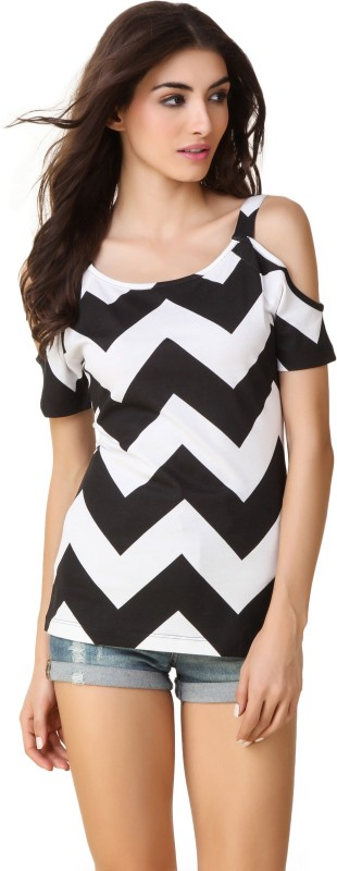 Texco Casual Cold Shoulder Chevron Women Black, White Top