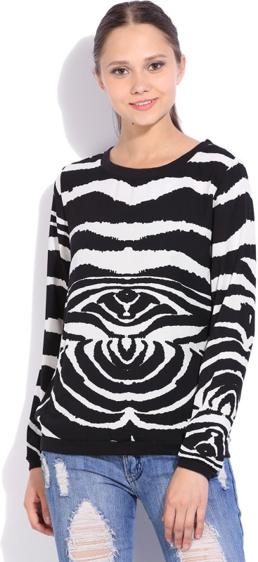Van Heusen Casual Full Sleeve Printed Women White, Black Top