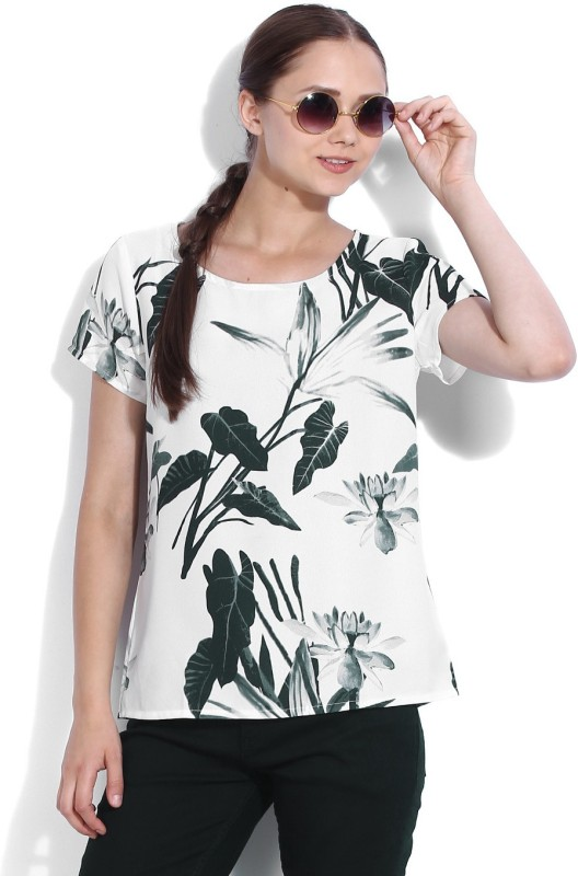 Van Heusen Casual Short Sleeve Printed Women White, Green, Black Top