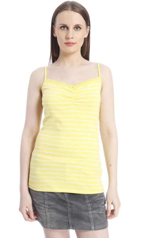 Only Casual Shoulder Strap Striped Women Yellow, White Top