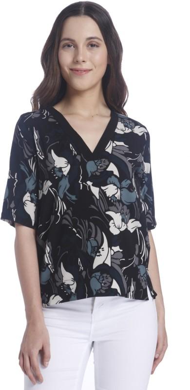 Vero Moda Casual Half Sleeve Floral Print Women White, Blue, Black Top