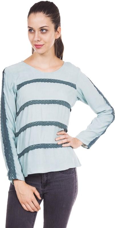 9teen Again Casual Full Sleeve Self Design Women Green Top