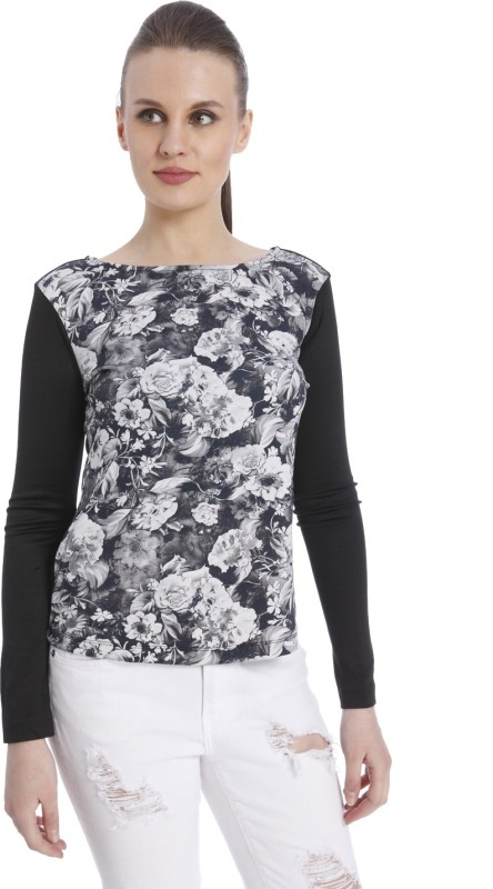 Vero Moda Casual Regular Sleeve Floral Print Women Black Top