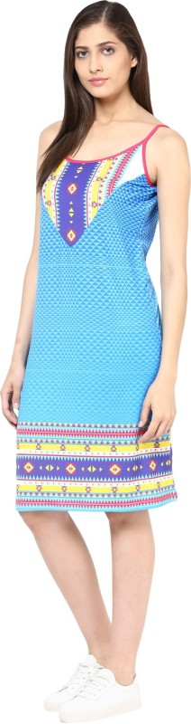 Fritzberg Casual Sleeveless Printed Women Blue Top