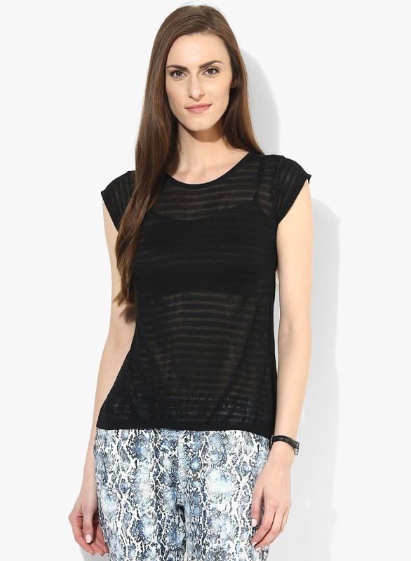 Vero Moda Casual Short Sleeve Striped Women Black Top