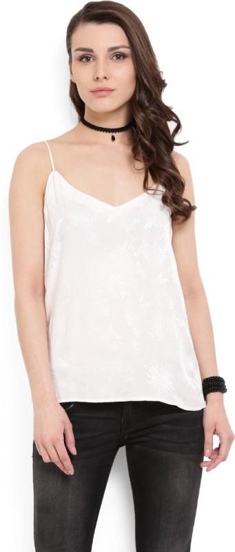 MANGO Casual Sleeveless Self Design Women's White Top