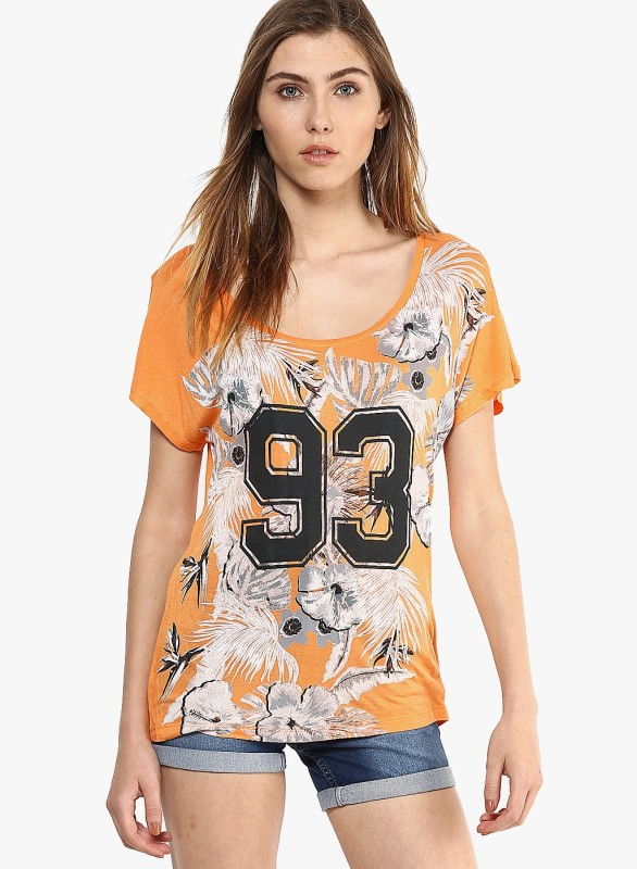 Vero Moda Casual Short Sleeve Printed Women Orange Top